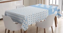 Puantiye Desenli Masa Örtüsü Mavi Beyaz Şık Tasarım