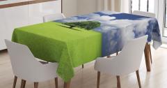 Yaz Mevsimi Temalı Masa Örtüsü Yeşil Yaşlı Ağaç