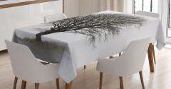 Siyah Beyaz Masa Örtüsü Sonbahar Nostaljik Ağaç