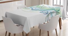 Deniz Kabuğu Desenli Masa Örtüsü Pastel Eskiz Yeşil