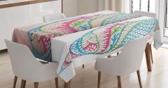 Deniz Kabuğu Desenli Masa Örtüsü Rengarenk Süslemeli