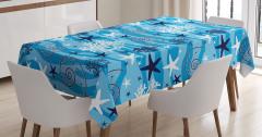 Sualtı Yaşam Temalı Masa Örtüsü Deniz Yıldızı Mavi