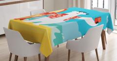 Kutup Ayısı Desenli Masa Örtüsü Mavi Beyaz Kırmızı