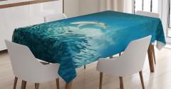 Balık Temalı Masa Örtüsü Turkuaz Deniz Köpek Balığı