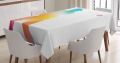 Rengarenk Beyzbolcu Desenli Masa Örtüsü Beyaz Fon