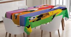 Rengarenk Masa Örtüsü Futbol Temalı Spor Ombre