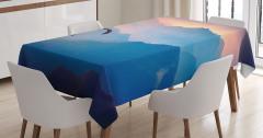 Doğa Manzaralı Masa Örtüsü Gün Batımı Dağ Mavi