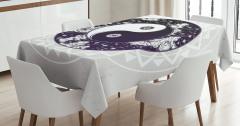 Yin ve Yang Temalı Masa Örtüsü Siyah Beyaz Yıldız