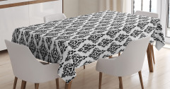 Damask Desenli Masa Örtüsü Siyah Beyaz Şık Tasarım
