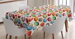 Dekoratif Kristal Desenli Masa Örtüsü Rengarenk