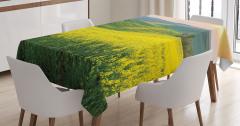 Kırlarda Bahar Temalı Masa Örtüsü Sarı Çiçekler Doğa