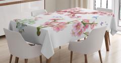 Pembe ve Beyaz Çiçekli Ağaç Desenli Masa Örtüsü Doğa