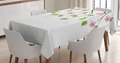Pembe Çiçek ve Yaprak Desenli Masa Örtüsü Beyaz Fon