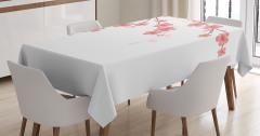 Pembe Çiçek ve Tomurcuk Desenli Masa Örtüsü Beyaz