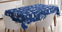 Lacivert Masa Örtüsü Deniz Temalı Balık Yelken Beyaz