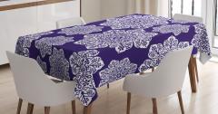 Çeyizlik Masa Örtüsü Çiçekli Lacivert Şık Tasarım