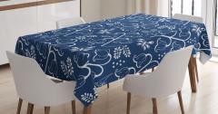 Siyah Beyaz Masa Örtüsü Şık Lale Tasarımı Trend
