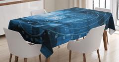 Lacivert Masa Örtüsü Gemi Radarı Desenli Siyah