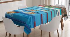 Kelebek Yüzme ve Havuz Desenli Masa Örtüsü Mavi