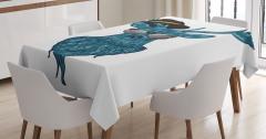 Modern Ren Geyiği Baskılı Masa Örtüsü Deniz Mavisi