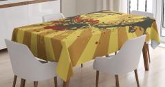 Sarı Masa Örtüsü Çiçek Geyik Boynuzu Kahverengi