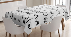 Geyik Boynuzu Desenli Masa Örtüsü Siyah Beyaz Trend
