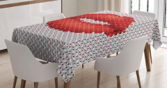 El Örgüsü Etkili Masa Örtüsü Kırmızı Ruj İzi Etkili