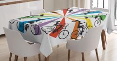 Gökkuşağı Temalı Masa Örtüsü Bisikletli Kadınlar