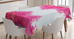 Pembe Begonvil Temalı Masa Örtüsü Çiçek Şık Tasarım