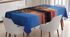 Gölde Gün Batımı Temalı Masa Örtüsü Mavi Turuncu