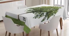 Doğada Huzur Temalı Masa Örtüsü Ağaç Yeşil Beyaz
