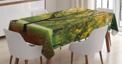Romantik Sonbahar Temalı Masa Örtüsü Turuncu Yaprak