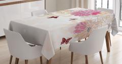 Çiçek Desenli Masa Örtüsü Pembe Beyaz Şık Tasarım
