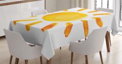 Suluboya Resmi Etkili Masa Örtüsü Güneş Deseni Sarı
