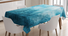 Mavi Masa Örtüsü Puslu Orman Temalı Şık Tasarım