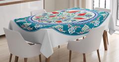 Osmanlı Tarzı Süslemeli Masa Örtüsü Otantik Çiçekler