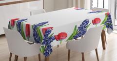 Bahar Temalı Masa Örtüsü Kırmızı Laleler Sümbüller