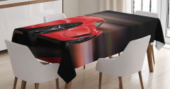 Kırmızı Yarış Arabası Desenli Masa Örtüsü Siyah