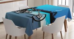 Motosiklet Desenli Masa Örtüsü Mavi Siyah Yıldız Ay