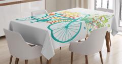 Bisiklet ve Çiçek Desenli Masa Örtüsü Mavi Yeşil