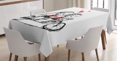 Bisikletli Aşıklar Temalı Masa Örtüsü Siyah Kırmızı