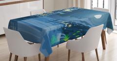 Korsan Gemisi Desenli Masa Örtüsü Mavi Ay Deniz Gece