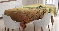 Bambu Desenli Masa Örtüsü Ağaç Yaprak Kahverengi Şık