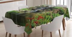Şelale Manzaralı Masa Örtüsü Bahar Çiçekleri Doğa