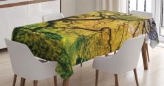 Akçaağaç Desenli Masa Örtüsü Bahar Yeşil Doğa Sarı
