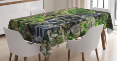 Şelale Manzaralı Masa Örtüsü Bahar Çiçekleri Yeşil