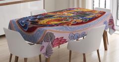 Ejderha Portreli Masa Örtüsü Uzak Doğu Sanatı