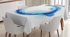 Mavi Ejderha Figürü Masa Örtüsü Modern Sanat Tasarım