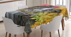 Şelale Manzaralı Masa Örtüsü Renkli Bahar Yaprakları