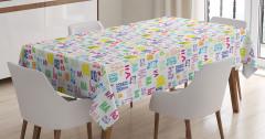Rengarenk Masa Örtüsü Mutluluk Eğlence Trend Beyaz